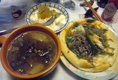 R0011756_0412夜-大根スープ、小女子ピザ、ぼんたんヨーグルト_400.jpg