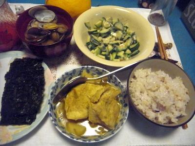 R0011774_0416夜-雑穀米ごはん、海苔、チキンカレー、あさりの潮汁、きゅうりサラダ_400.jpg