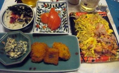 R0012064_0604夜-蟹チラシ、牡蠣、イカ、しいたけフライ、白和、トマト、大根ウメサラダ_400.jpg