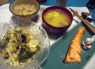 R0012075_0606夜-鮭焼き、海苔佃煮マーマレードのサラダ、味噌汁_400.jpg