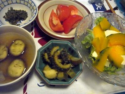 R0012459_0811夜-かぼちゃ奴、夏野菜ピクルス、ナスの味噌汁、トマト、茶葉佃煮風_400.jpg