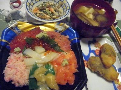R0012504_0825夜-海鮮ちらし寿司、ささみ紫蘇揚、味噌汁、白和_400.jpg