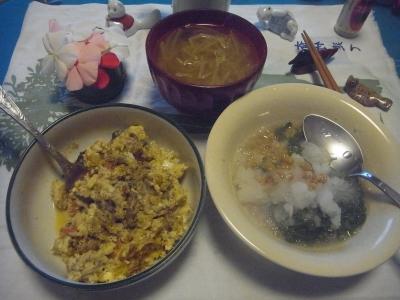 R0012534_0901夜-マッシュルーム卵とじ、おろしめかぶ納豆、味噌汁.JPG