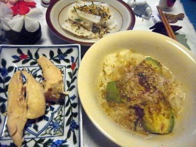 R0012540_0902夜-ささみ煮物、アボカドこんにゃく素麺、大根サラダ_400.jpg
