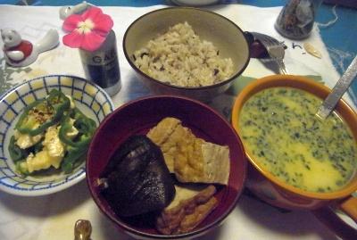 R0012637_0922夜-厚揚げ煮物、チーズピーマン、コーンスープ_400.jpg