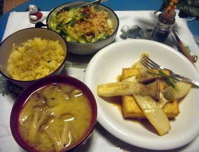 R0012661_0925夜-厚揚げエリンギソテー、サンマオレンジご飯、しめじ味噌汁、きゅうりサラダ_400.jpg