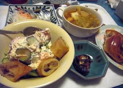 R0012892_1104夜-サンマ甘露煮、春巻き、サラダ、しめ鯖、チキンスープ、パン_400.jpg