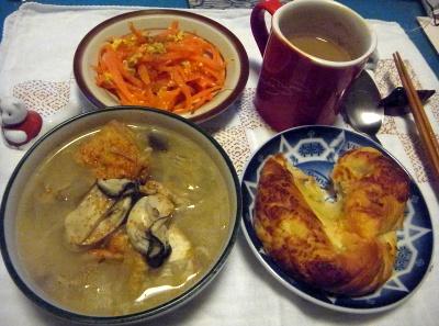 R0013529_1215夜-牡蠣鍋、チーズパン、人参ソテー_400.jpg
