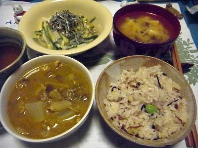 R0014142_0330夜-タイチキンカレー、雑穀ご飯、サラダ、味噌汁_400.jpg