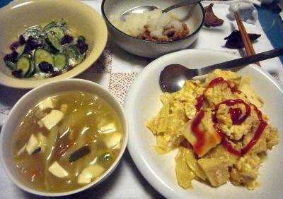 R0014210_0412深夜-タイ風グリーンカレー春雨、オムレツ風、キュウリの酢の物、おろし納豆_400.jpg