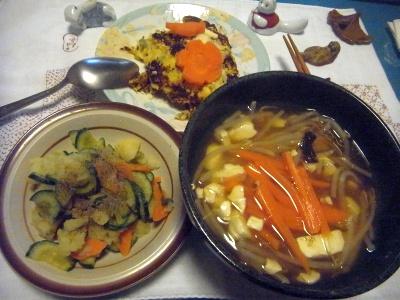 R0014291_0513夜-春雨と野菜スープ、ポテトサラダ、キャベツのパンケーキ_400.jpg