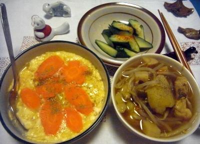 R0014344_0523夜-豆腐卵人参、もやしスープ、きゅうり_400.jpg