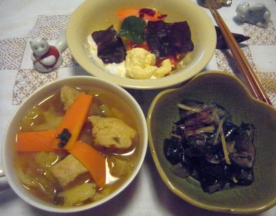 R0014413_0612深夜-茄子の煮びたし、チキンスープ、スイスチャードサラダ_400.jpg