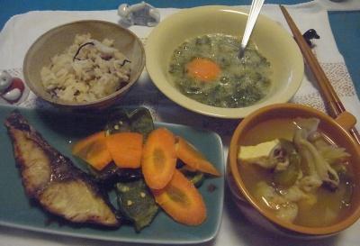 R0014822_0810夜-ブリの照り焼き、野菜スープ、めかぶ卵おろし、雑穀米ご飯_400.jpg
