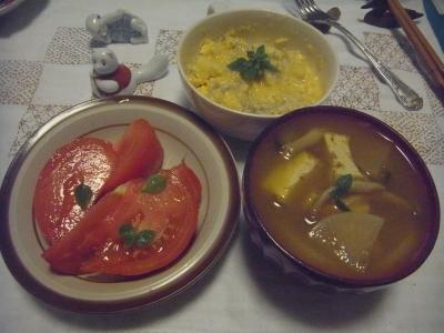 R0014854_0817夜-トマト、厚揚げスープ、ポテトとしらすの玉切とじ.JPG