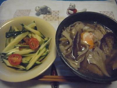 R0014862_0819夜-卵と舞茸そば、納豆キュウリにミニトマトのせ.JPG
