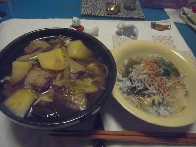 R0014898_0820夜-鶏と野菜蕎麦、しらすおろしめかぶ奴.JPG