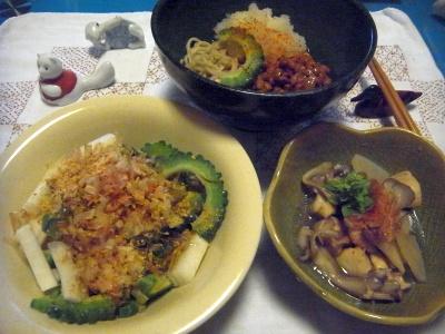 R0015147_0826夜-ゴーヤサラダ、納豆おろし蕎麦、舞茸煮物_400.jpg