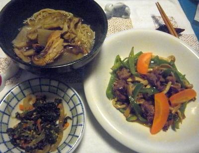 R0015155_0828深夜-カツオ蕎麦、ほうれん草のおひたし、牛肉の炒めもの_400.jpg
