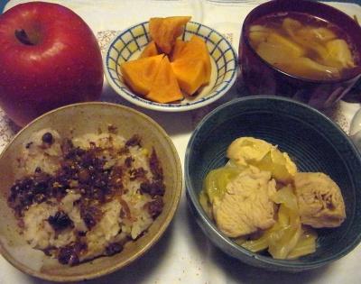 R0015698_1222夜-鶏のスープ煮、山椒佃煮、野菜スープ、柿、リンゴ_400.jpg