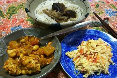 DSC_0115_0415夜-野菜卵とじ、ポークビーンズ、キノコそうめん_400.jpg