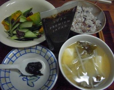R0016240_0421夜-海苔の佃煮、みそ汁、キュウリとかぼちゃサラダ、雑穀ご飯_400.jpg