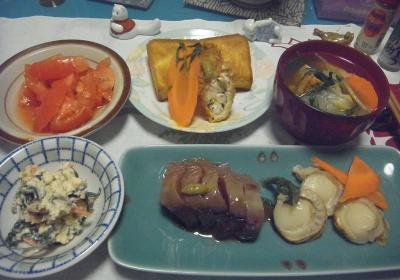 R0016390_0525夜-カツオとホタテの刺身、白和え、野菜スープ、トマト、チキンフライ、トースト_400.jpg