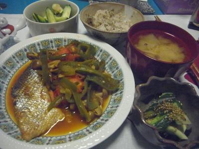 R0016597_0710夜-鮭の西京漬け、わさび胡麻胡瓜、生姜胡瓜、みそ汁、雑穀ご飯_400.jpg