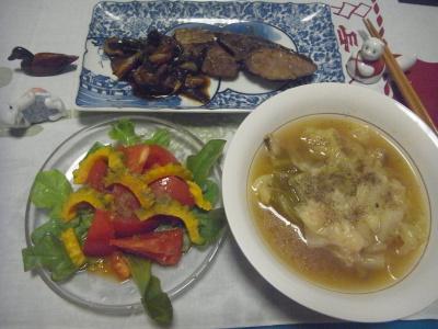 R0016641_0721夜-海老ワンタンスープ、ガーデンレタスとトマトとゴーヤのサラダ、鰤とナスの照り焼き_400.jpg