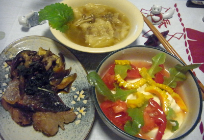 R0016657_0722夜-ガーデンレタスとゴーヤとトマトの豆腐サラダ、鰤の照り焼き、海老ワンタンスープ_400.jpg