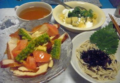 R0016822_0823夜-ゴーヤトマトチキンサラダ、梅ひじきシソ蕎麦、キーウィヨーグルト、スープ_400.jpg