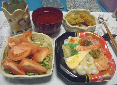 R0016880_0901夜-海鮮チラシ、トマトと豆苗サラダ、カキフライと鯵大葉フライ、スープ_400.jpg