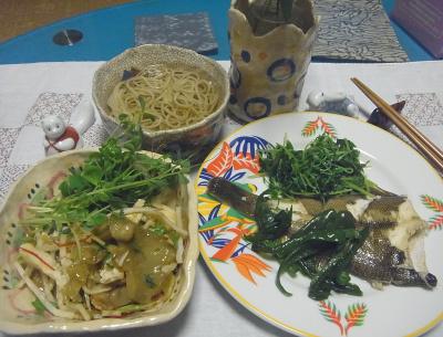 R0016916_0909夜-カレイ蒸し焼き豆苗添え、ザーサイと蒸し鶏のサラダ、蕎麦_400.jpg