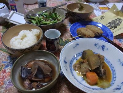 R0031196_0929夕食-ラタトゥイユ、イカの煮物、すり身メンチカツ、キュウリと柴漬け、ご飯_400.jpg