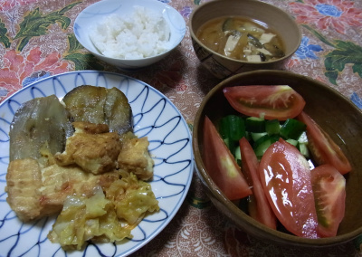 R0031217_1002夜-厚揚げと米ナス焼き、トマトとキュウリサラダ、みそ汁、ご飯_400.jpg