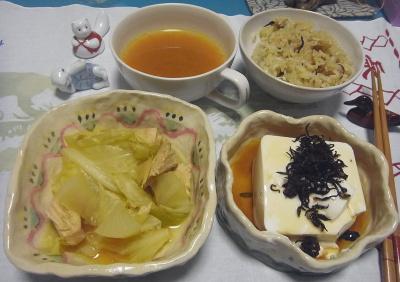 R0017110_1019夜-キャベツとチキンスープ煮、温奴、サンマご飯、スープ_400.jpg