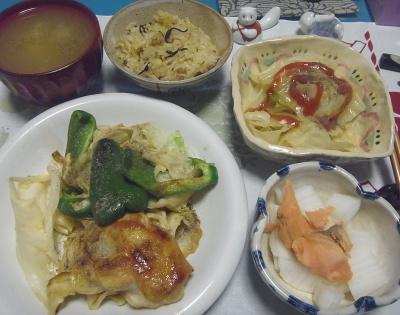 R0017151_1025夜-ポーク炒め、大根と鮭、茹でキャベツ、スープ、サンマご飯_400.jpg