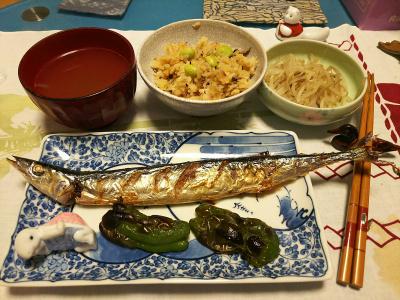 DSC_0815_1109夜-サンマ塩焼き、茹でモヤシ、サンマオレンジご飯、スープ_400.jpg