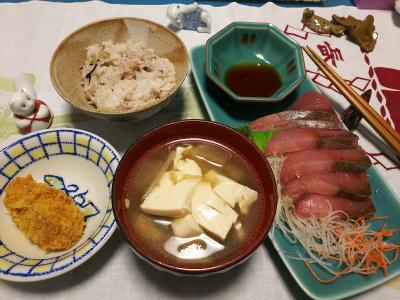 DSC_0848_1116夜-鰤刺身、カキフライ、豆腐みそ汁、雑穀ご飯_400.jpg
