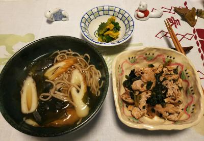 DSC_0919_1125夜-温蕎麦、ポークとほうれん草炒め、冷凍ゴーヤ炒め_400.jpg