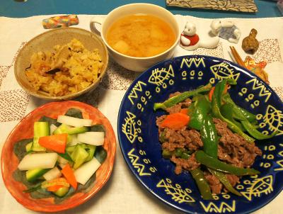 DSC_1238_1220夜-チンジャオロース、サラダ、サンマオレンジご飯、みそ汁_400.jpg