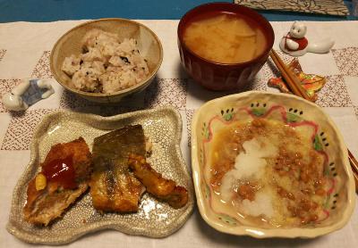 DSC_1244_1221夜-ほっけ焼き、ささみチーズかつ、おろし納豆、雑穀ご飯、みそ汁_400.jpg