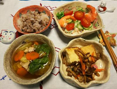 DSC_1327_0103夜-厚揚げソテー、餅なし雑煮風、海老サラダ、小豆ご飯_400.jpg