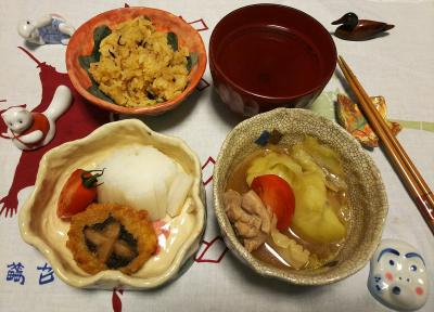 DSC_1343_0107夜-ポトフ、椎茸しんじょ揚げ、大根サラダ、サンマオレンジご飯、お吸い物_400.jpg