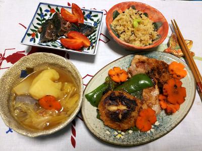 DSC_1355_0109夜-ポークソテー、椎茸しんじょと野菜焼き、ポトフ、カツオのたたき、サンマオレンジご飯_400.jpg