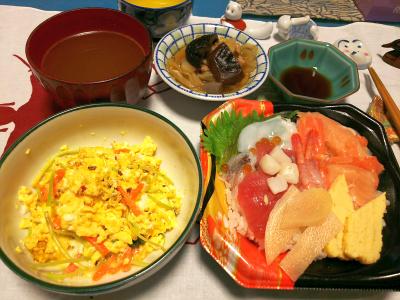 DSC_1364_0110夜-海鮮ちらし寿司、三つ葉卵とじ、椎茸煮物、スープ_400.jpg