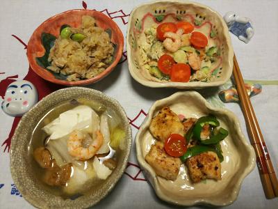 DSC_1405_0115夜-湯豆腐、ささみステーキ、海老サラダ、サンマオレンジご飯_400.jpg