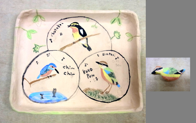 R0032900絵付けしたたたら皿キビタキ、ヤイロチョウ、カワセミと箸置き_640.jpg