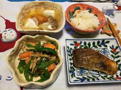 DSC_1566_0208夜-ほっけ焼き、鮭とピーマン炒め、湯豆腐、すし飯_400.jpg