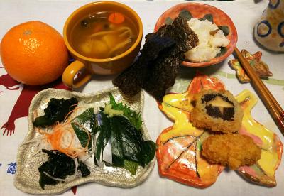 DSC_1608_0215深夜-こぶしめ鯖、椎茸詰め、カキフライ、ポトフ、すし飯と海苔、伊予柑_400.jpg